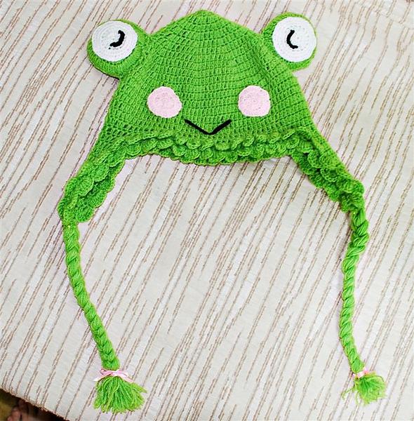 鉤針青蛙帽