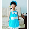 縫紉獨家設計作品~髮帶+夏季藍色小洋裝