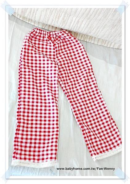 日系風紅格子長褲