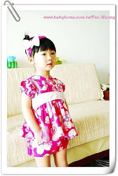 縫紉獨家設計作品~髮帶+改良式和服。