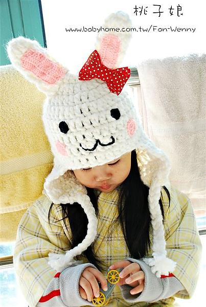 鉤針兔子帽