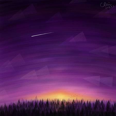 黎明時出現的流星 The shooting star atdawn./2018.03.03/數位粉彩 Digital Pastel