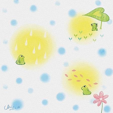 春蛙 Frogs in spring./2018.02.28/數位粉彩 Digital Pastel