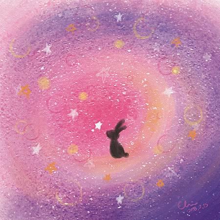 等待著我的幸運星Waiting for my lucky star./2018.02.15/數位粉彩 Digital Pastel