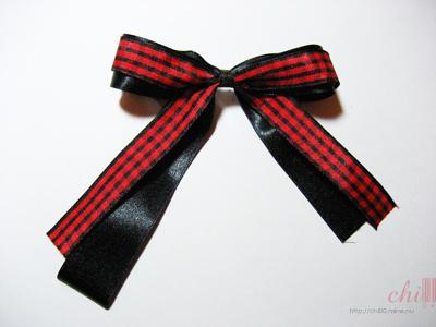 紅黑格紋蝴蝶結 完成品