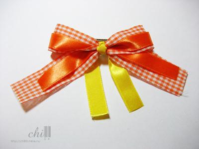 橘黃格紋 蝴蝶結髮飾