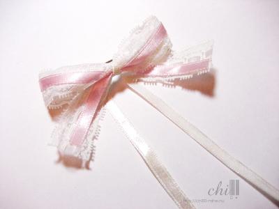 蕾絲粉紅 蝴蝶結髮飾