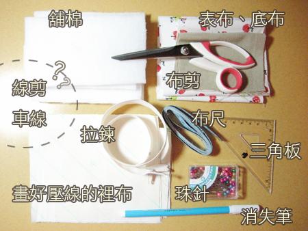 蘋果化妝包 材料、工具一覽