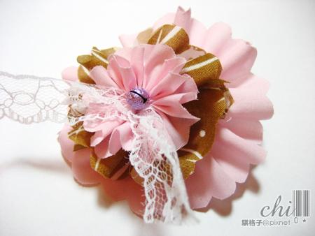 咖啡×粉紅花花髮飾