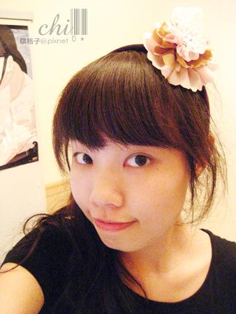 粉紅×咖啡花朵髮飾示範戴~