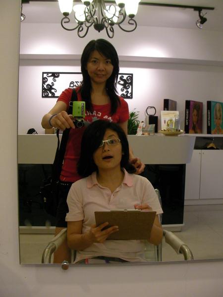 比較我們兩個的頭髮