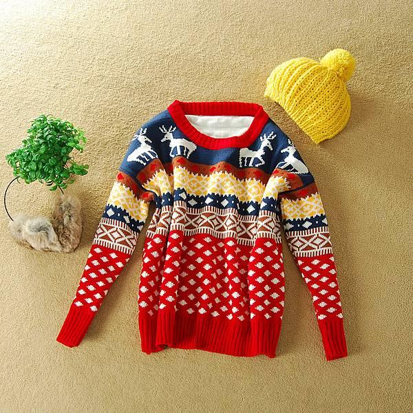 SGSJ02231 外銷品牌原單 新年寬版小鹿毛衣