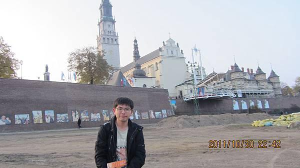 我與Częstochowa的黑聖母大教堂Jasna Góra