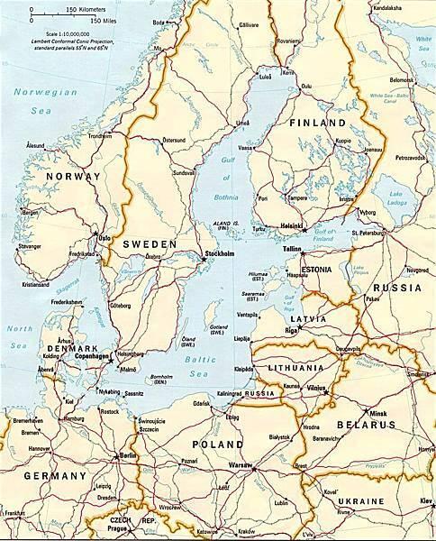 波羅的海及其周邊國家示意地圖