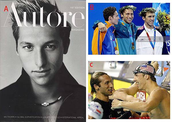 圖三ian thorpe model and swimpool with phelps