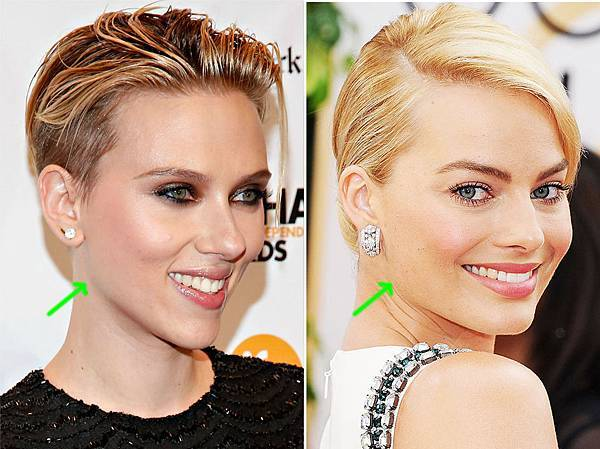 圖四Scarlett Johansson versus Margot Robbie with green arrows