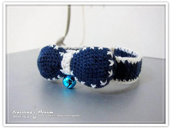 20101203藍色蝴蝶結項圈1