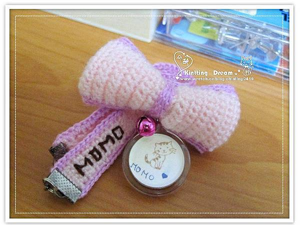 momo 粉紫色蝴蝶結吊牌項圈