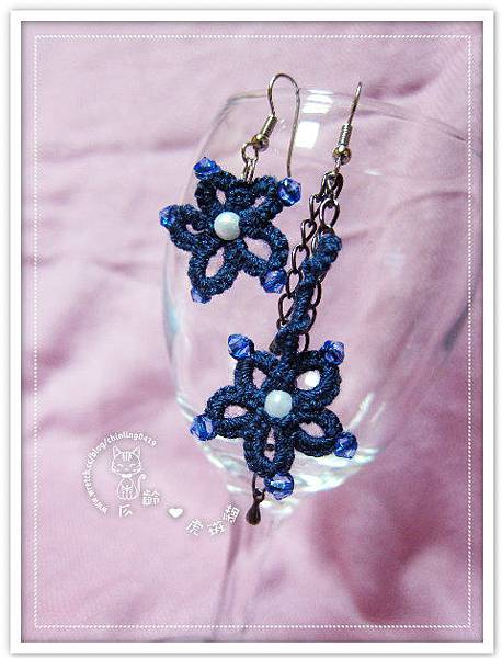 6耳環】深藍色花形蕾絲編織