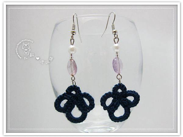 【耳環】深藍色復古蕾絲花形系列