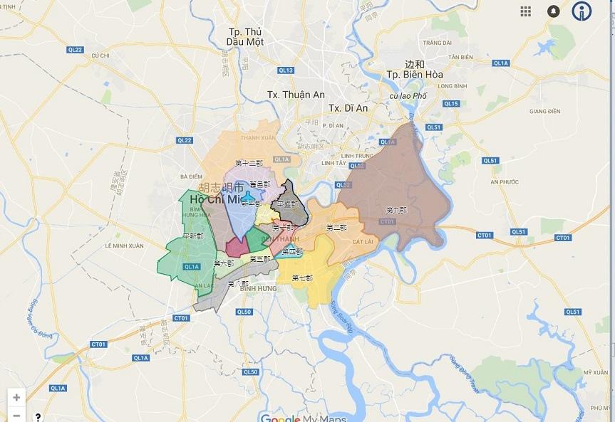 胡志明市12郡分布圖
