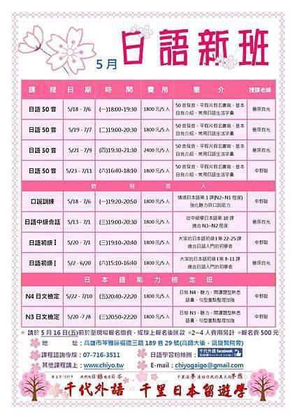 千代外語2015年5月日語課程反面