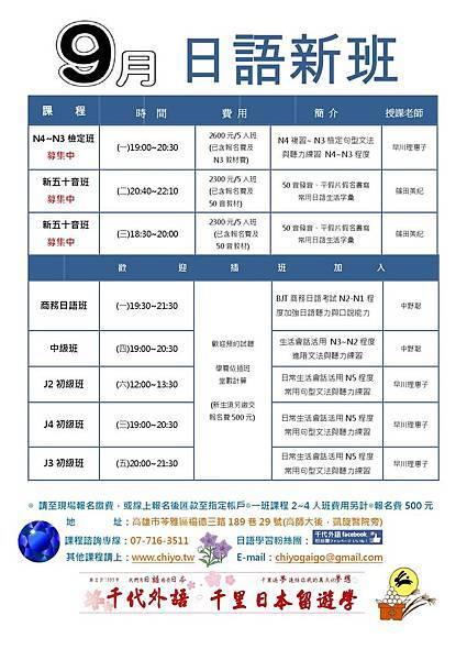 千代外語2016年9月日語課程反面.jpg