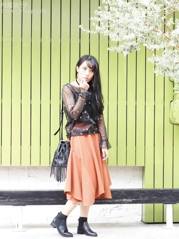日本樂天購物osharewalker日系裙子秋天土色不規則裙穿搭16.JPG