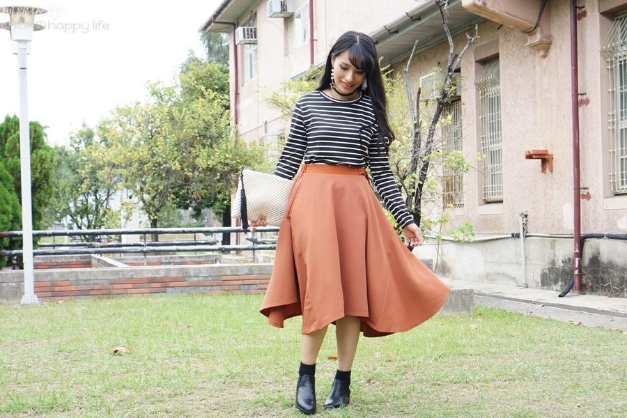 日本樂天購物osharewalker日系裙子秋天土色不規則裙穿搭19.JPG