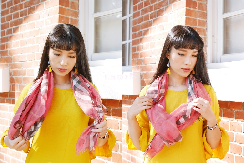burberry輕盈格紋羊毛絲綢圍巾 四種綁法穿搭分享7.jpg