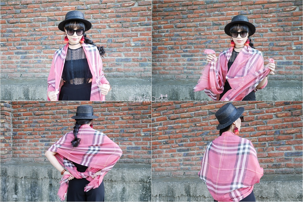 burberry輕盈格紋羊毛絲綢圍巾 四種綁法穿搭分享22.jpg