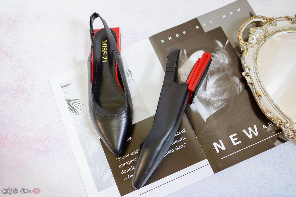 LOOKBOOK 個性女孩穿搭首選 MISS 21 獨特創意方形夾心尖頭全真皮低跟鞋 開箱%26;穿搭分享4.jpg