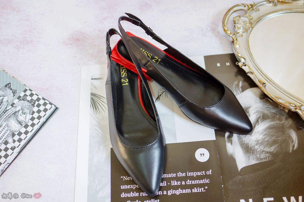 LOOKBOOK 個性女孩穿搭首選 MISS 21 獨特創意方形夾心尖頭全真皮低跟鞋 開箱%26;穿搭分享5.jpg