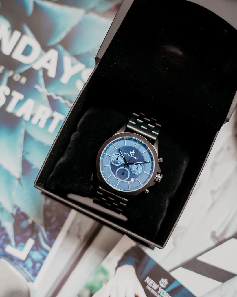 上班族男錶推薦 New York Incredibles三眼錶不鏽鋼黑錶帶 質感好搭又好看2.jpg