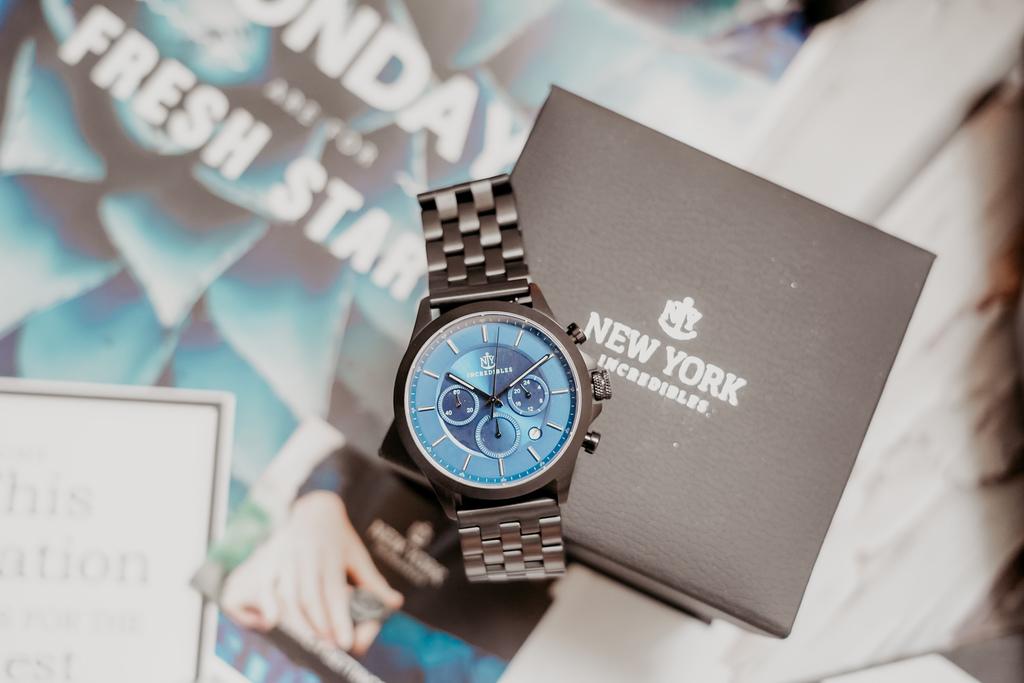 上班族男錶推薦 New York Incredibles三眼錶不鏽鋼黑錶帶 質感好搭又好看3.jpg