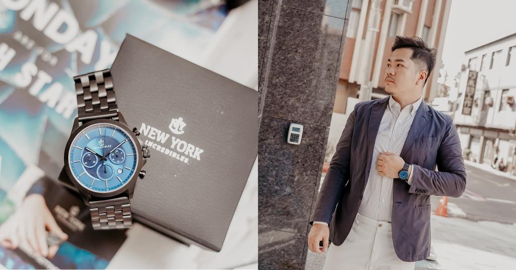 上班族男錶推薦 New York Incredibles三眼錶不鏽鋼黑錶帶 質感好搭又好看.jpg