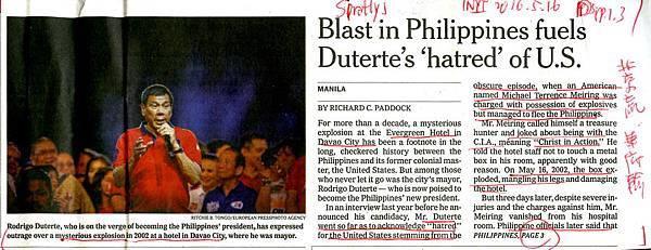20160516 Blast in Philippines fuels Duterte