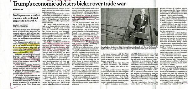 20181115 Trump%5Cs economic advisers bicker over trade warOK.jpg