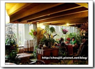 被植物包圍著的午茶空間