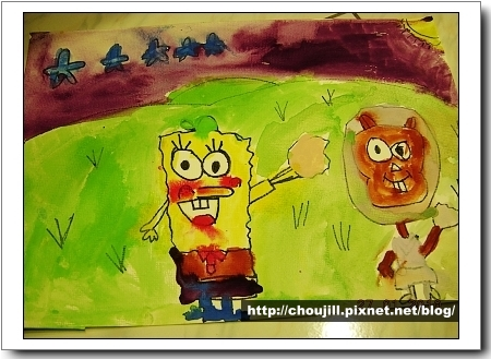 『卡通狂想曲』小敏畫的是海綿寶寶跟珊迪