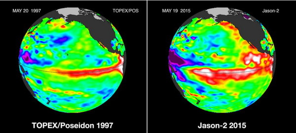 左為1997年時高於平常的海平面溫度(紅色區塊)圖。右為今年的海平面溫度圖。.jpg