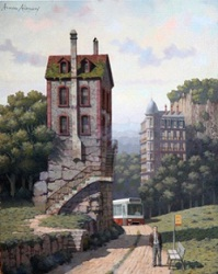 Arnau Alemany_Factory over a rock and Bus coming_52x64cm_2012