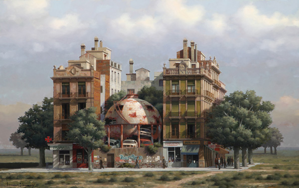 Arnau Alemany_Sphere Between two buildings_ 94x67cm_2011