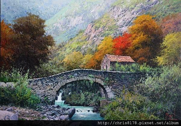 10626_Miguel Peidro_ART2016_8_Puente viejo y molino sobre el rio Tielve Picos de Europa_65x46cm_Oil on canvas_ 2015.jpg