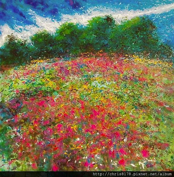 10876_Andres Rueda_ART2016_2_Flowers Rain_複合媒材_80x80cm_2015.jpg