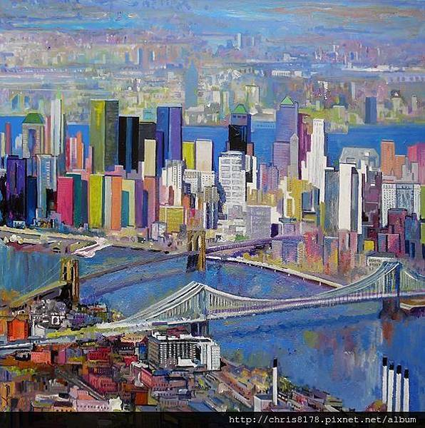 10879_Ulpiano Carrasco_ART2016_5_LOS PUENTES DE NEW YORK_oil_ 100X100cm.jpg