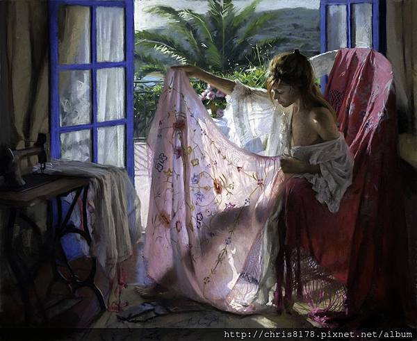 10880_Vicente Romero Redondo_ART2017_4_Shawl play_粉彩畫pastel on ingres paper over an Impasto base_100x81cm_2017_sm.jpg