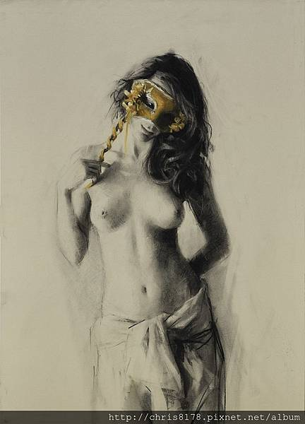 10880_Vicente Romero Redondo_ART2017_5_Venetian mask_粉彩碳筆Charcoal and pastel on ingres paper over an impasto base_50x70cm_2017_sm.jpg