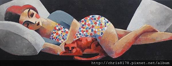 11457_Didier Lourenço_ 20181145704_紅貓 Gato rojo_油畫 oil on canvas_130x50cm_sm_2017.JPG