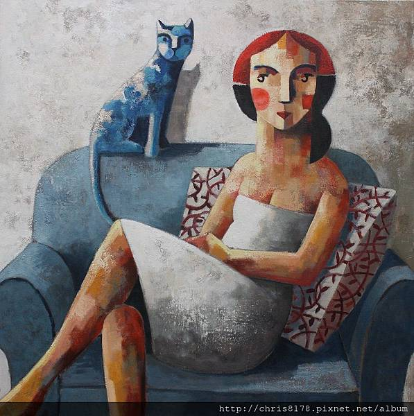 11457_Didier Lourenço_ 20181145701_藍貓 Blue cat_油畫 oil on canvas_100x100cm_sm_2017.JPG